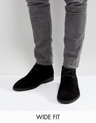 Asos Wide Fit Desert Boots In Black Faux Suede Black