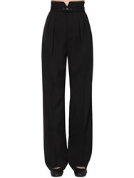 Red Valentino Belted Wide Leg Wool Blend Pants Black