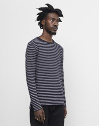 The Idle Man Striped Long Sleeve Jumper Navy
