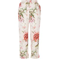 River Island Pink Floral Cropped Straight Leg Trousers