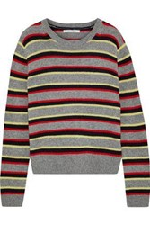 Chinti And Parker Striped Cashmere Sweater Gray