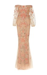 Marchesa Off The Shoulder Beaded Gown Pink