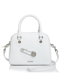 Versus By Versace Safety Pin Medium Saffiano Leather Satchel White