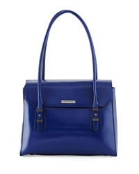 Charles Jourdan Maine Flap Top Leather Shoulder Bag Blue