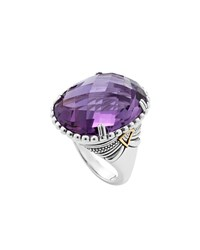 Lagos Silver Amethyst Ring With 18K Gold Size 7