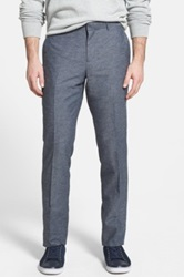 Wallin And Bros Flat Front Cotton And Linen Trousers Blue