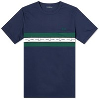 Fred Perry Authentic Taped Chest Logo Tee Blue