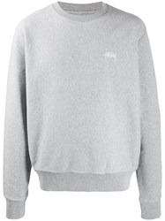 Stussy Relaxed Fit Logo Embroidery Sweatshirt Grey