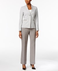 Le Suit Petite Striped Pantsuit Ivory Grey