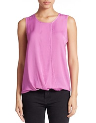Lord And Taylor Sleeveless Mock Wrap Blouse Island Orchid