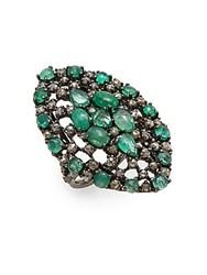 Bavna Champagne Diamonds Emerald And Sterling Silver Ring Green