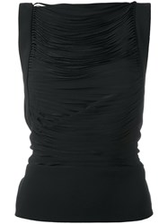 Tom Ford Pleated Sleeveless Blouse Women Silk Polyester Spandex Elastane 42 Black