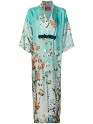 F.R.S For Restless Sleepers Floral Printed Kimono Coat Green