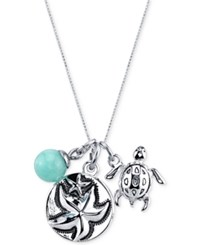 Unwritten Starfish Charm And Amazonite 8Mm Necklace In Stainless Steel