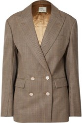 Hillier Bartley Checked Double Breasted Wool Blazer Brown