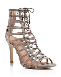 Joie Rhoda Caged Lace Up High Heel Sandals Dove