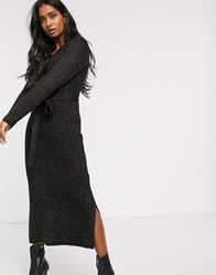 Lost Ink Knitted Maxi Dress With Button Front In Glitter Rib Black