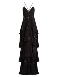 A.L.C. Alex Star Print Silk Georgette Maxi Dress Black Multi