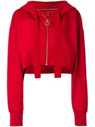 Tommy Hilfiger Cropped Crest Hoodie Red
