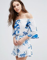 Love And Other Things Off The Shoulder Floral Print Playsuit Blue