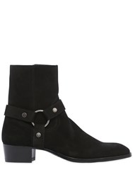 Saint Laurent 40Mm Wyatt Belted Suede Cropped Boots