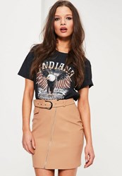 Missguided Petite Nude Faux Leather Belted Mini Skirt