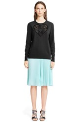 Women's Christopher Kane Heart Embroidered Knit Wool And Cashmere Blend Sweater