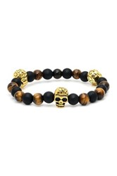 Steeltime Skull Black Bead And Tiger's Eye Stretch Bracelet Multi