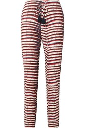 Figue Manali Printed Cotton Poplin Straight Leg Pants Red