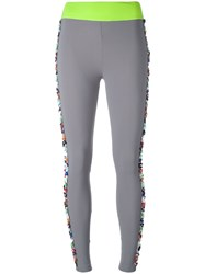 No Ka' Oi Floral Embellished Leggings Grey