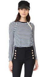 Derek Lam Long Sleeve Tee With Button Detail White Ocean