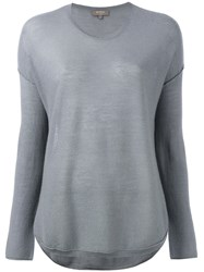 N.Peal Super Fine Elbow Patch Jumper Grey