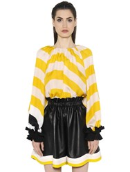 Fendi Striped Silk Georgette Top