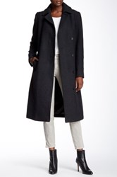 Cole Haan Wool Blend Belted Notch Collar Maxi Coat Gray