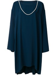 Maison Martin Margiela Mm6 Oversized Draped Dress With Faux Pearl Detail Polyester Viscose Blue
