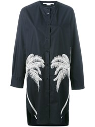 Stella Mccartney Feather Print Shirt Dress Blue