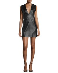 Cnc Costume National Sleeveless Leather Front Mini Dress Black Women's