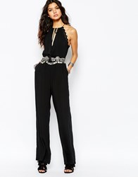 Wyldr Scallop Trim Jumpsuit With Crochet Detail Black
