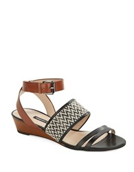 French Connection Wiley Leather Wedge Sandals Black Tan