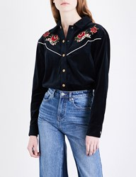 Moandco. Floral Embroidered Velvet Shirt Peacoat