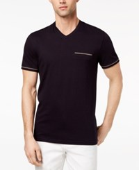Ryan Seacrest Distinction Men's Slim Fit Stripe V Neck Pocket T Shirt Created For Macy's Navy
