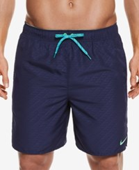 Nike Men's Embossed Volley Swim Trunks 7 Midnight Navy