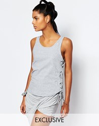 Story Of Lola Drop Armhole Vest With Lace Up Side Detail Grey