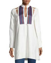 Zeus And Dione Long Sleeve Textured Silk Tunic Ivory