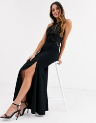 Lipsy Lace Top High Neck Maxi Dress In Black