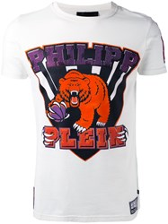 Philipp Plein Graphic Bear Logo T Shirt White