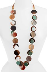 Stella Ruby Layered Disc Necklace Green Brown