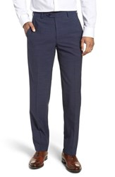 Santorelli Big And Tall Flat Front Solid Wool Trousers Bright Navy