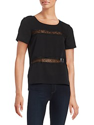 French Connection Lace Trim Short Sleeve Top Black