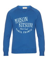 Maison Kitsune Palais Royal Cotton Jersey Sweatshirt Blue